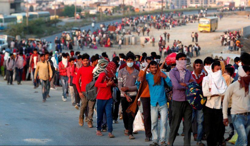 Migrant labours walking